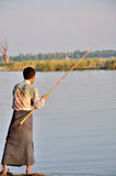 Fishing near the U Bein Bridge Royalty Free Stock Photos