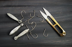 Fishing needle, fishing hook for fishing, fishing gear, hook fisherman needles,. Fishing needle, fishing hook for fishing, fishing gear, hook fisherman needles Royalty Free Stock Photos