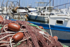 Fishing Net. At quayside, drying in the sun stock photography