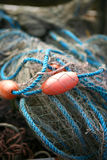 Fishing net. With floats tangled up stock image