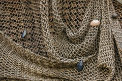 Fishing net background. Brown fishing net with seashells stock image