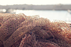 Fishing net. On the background of the dock Royalty Free Stock Photos