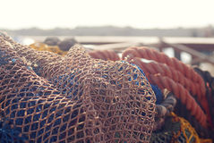 Fishing net. On the background of the dock Royalty Free Stock Photo