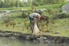 Fishing net in Bangladesh. Fisherman The fisheries sector plays an important role in food consumption, nutrition, employment and export. The sector contributes Royalty Free Stock Photography