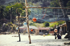 Fishing net. On the beach Stock Photo