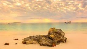 Fishing net on the beach Stock Photo