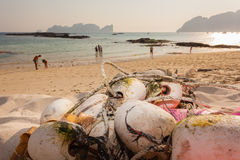 Fishing net on the beach Royalty Free Stock Image