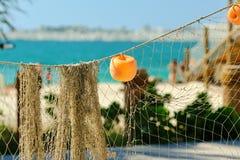 Fishing net on beach. In Dubai, United Arab Emirates Stock Image