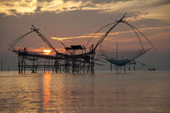 Fishing net. Big fishing net in thailand lake Royalty Free Stock Images