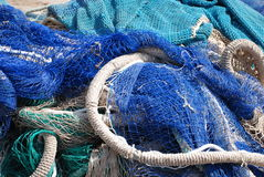 Fishing net in blue and brown Royalty Free Stock Photography