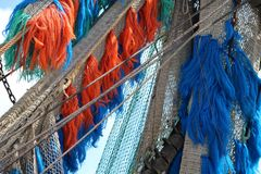 Fishing net on board royalty free stock photo