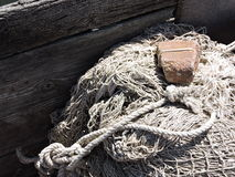 Fishing net in boat Royalty Free Stock Photography