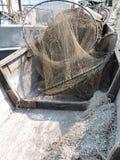 Fishing net in boat Stock Image