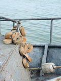 Fishing net buoy in ship. Fishing net buoy in metallic ship, Lithuania royalty free stock image