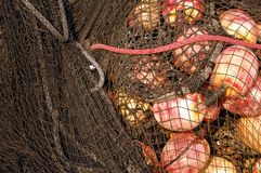 Fishing net with buoys stock image