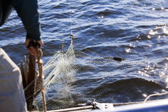 Fishing net caught on the anchor Royalty Free Stock Photography