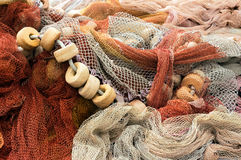 Fishing net with corks Royalty Free Stock Images