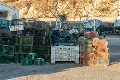 Fishing net on the docks royalty free stock image