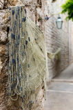 Fishing Net Drying. In a Croatian harbor Royalty Free Stock Photography