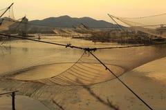 Fishing net at dusk Royalty Free Stock Photos