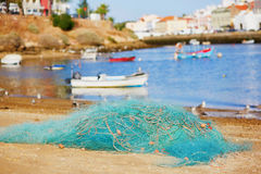 Fishing net in Ferragudo, Portugal Stock Photos