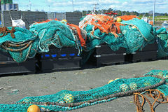 Fishing net. S in the port of Loctudy, Finistere, Brittany, France spread to dry royalty free stock image