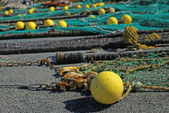 Fishing net. S in the port of Loctudy, Finistere, Brittany, France spread to dry royalty free stock images