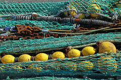 Fishing net. S in the port of Loctudy, Finistere, Brittany, France spread to dry royalty free stock photography