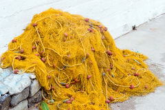 Fishing net with floats in Bali, Crete Stock Photo