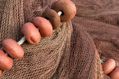Fishing net with floats Stock Photo