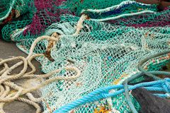 Fishing net on the floor. Royalty Free Stock Photography