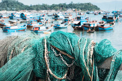 Fishing net in the harbor royalty free stock photo