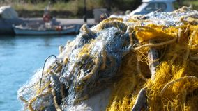 Fishing net. In the harbour stock footage