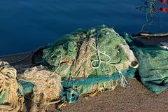 Fishing net. In the harbour of cetara royalty free stock photo