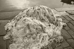Fishing net. In the harbour of cetara royalty free stock photos