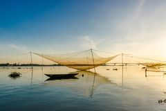 Fishing net in Hoian, Danang. Vietnam royalty free stock photo