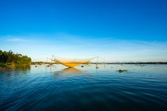 Fishing net in Hoian, Danang. Vietnam stock photography