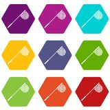 Fishing net icon set color hexahedron. Fishing net icon set many color hexahedron isolated on white vector illustration Royalty Free Stock Image