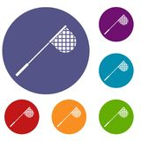 Fishing net icons set. In flat circle reb, blue and green color for web Stock Photos
