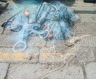 Fishing net on a pier Stock Images