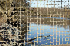 Fishing net. A lake in a forest, in the foreground a fishing net stock images