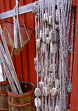 Fishing net and landing net Royalty Free Stock Images