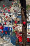 The fishing net of lovers and the boats , Camogli royalty free stock images