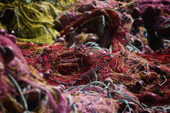 Fishing net. Marine background. Stock Photos