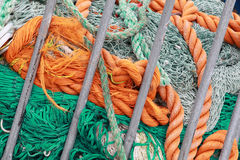 Fishing net and naval ropes Stock Photography