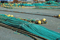 Fishing net. S in the port of Loctudy, Finistere, Brittany, France spread to dry stock photos