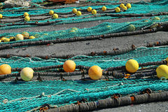 Fishing net. S in the port of Loctudy, Finistere, Brittany, France spread to dry stock image