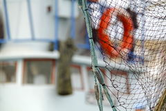Fishing net. Nice times to see waves at the seaport. This is seaport from Turkey Stock Images