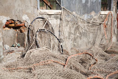 Fishing net at an old barn Royalty Free Stock Photos
