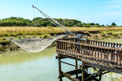 Fishing net on Oleron island, France Royalty Free Stock Images